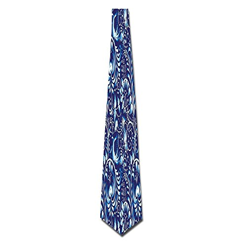 WuLion Folk Chinese Design Inspired Floral Swirls Embellished Classic Ethnic Men's Classic Silk Wide Tie Necktie (8 CM) (Skirt Swirl Silk)