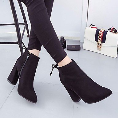 Women's Boots Winter Mary Jane PU Casual Wedge Heel Feather Black AVunE9Mprr