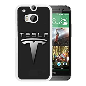 Newest And Fashionable HTC ONE M8 Case Designed With Tesla Logo White HTC ONE M8 Screen Cover High Quality Cover Case