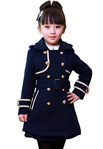 Wool Blend Trench - Big Girls Elegant Wool Blends Slim Trench Coat Winter Jacket Outerwear Clothes