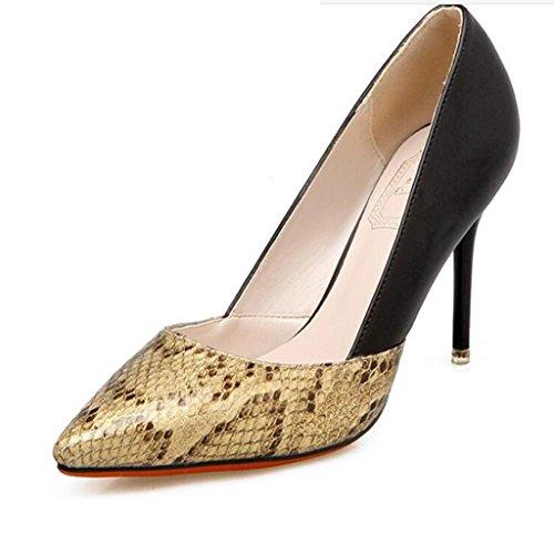 W&LM Sra Tacones altos Boca rasa Zapatos individuales Puntadas Imitación Piel de serpiente Zapato De acuerdo Muy delgado Tacones altos Gold