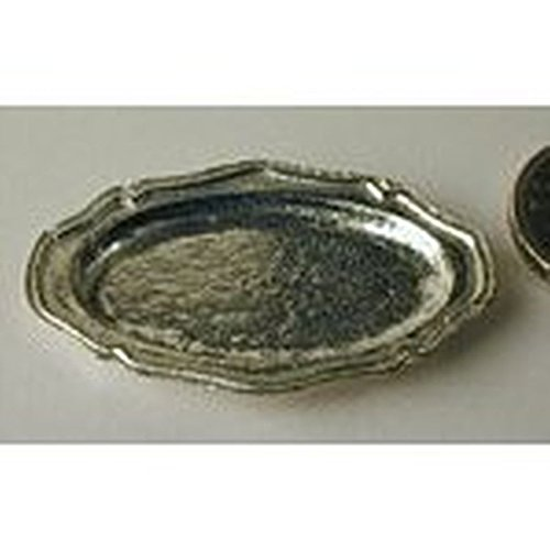 Pewter Doll - Warwick Miniatures Dollhouse Miniature Polished Pewter Oval Serving Platter