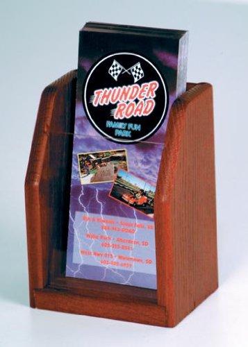 Dark Mahogany Top - Wooden Mallet LT-1 Oak & Acrylic Single Pocket Countertop Brochure Holder / Rack in Dark Red Mahogany