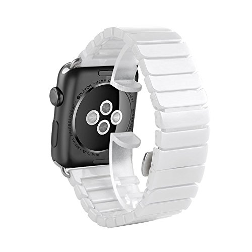 Apple Watch 42mm Band, HuanlongTM Luxury Ceramic Bracelet Watch Band Strap Replacement Wrist Band for Apple Watch & Sport & Edition Iwatch 42/38mm with Adapter(Ceramic White 42mm)