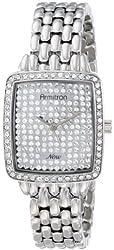Armitron Women's 75/5180SVSV Cushion Shaped Case Swarovski Crystal Accented Silver-Tone Bracelet Watch