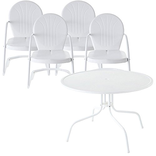 Crosley Furniture Griffith 5-Piece Metal Outdoor Dining Set with Table and Chairs - White (Set Outdoor Metal White Dining)