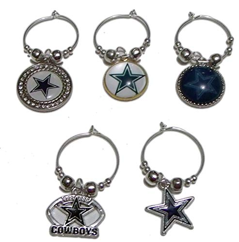 Sports Wine Charms ~ Texas Cowboys Wine Charms Wine Glass Marker Set of 5 (Handmade Style 2)
