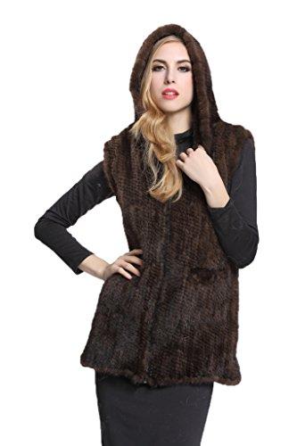 Womens Brown Knitted Mink Fur Waistcoat Vest with Zipper Waistcoat(US - Bearing Kodak