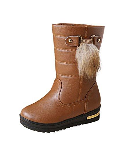 T&Mates Womens Elegant Comfort Warm Fur Lining Round Toe Slip-on Anti-Slip Platform Snow Boots Brown UtJmKvlA
