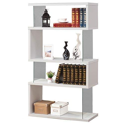 Asymmetrical Snaking Bookcase White Glossy and Clear by Coaster Home Furnishings (Image #5)