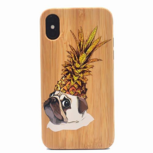 iPhone X/Xs Case, Cute Pug with Pineapple Hat Pattern 3D UV Print Colorful Real Wood Case Premium Hybrid Protective Wooden Cover Case for Apple iPhone Xs (2018), iPhone X(2017) 5.8 - Wood Pug