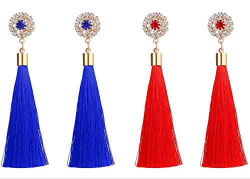 Gedora Tassel Earrings - Chic Fashion Dangle Earring Set for Women - Trendy Hypoallergenic Bohemian Jewelry for Prom, Wedding, and Disco Party - Comfy and Lightweight - 2 Sets (Blue + Red) ()