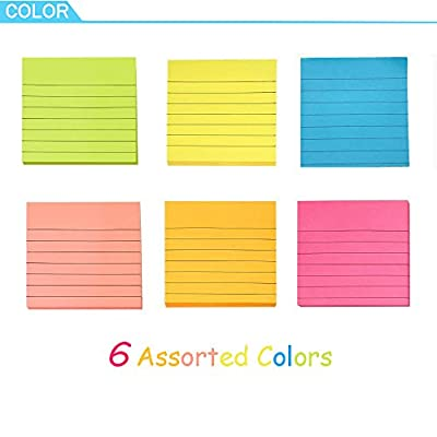Sticky Notes with Lines 3 inch X 3 inch 6 Assorted Bright Color Lined Self-Stick Notes, 80 Sheet/Pad 6 Pads/Pack Easy Post Individual Package (Lined- Assorted Color)