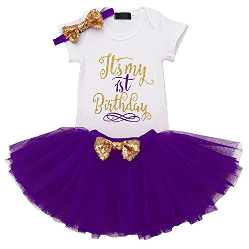 (IBTOM CASTLE Baby Girl It's My 1st/2nd Birthday Cake Smash 3Pcs Shinny Sequin Bow Romper+Tutu Skirt+Headband+Leg Warmer Outfit Purple(1 Years)(3pcs) One Size)