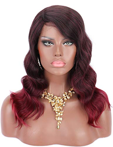 """Kalyss 18"""" Burgundy Red with Highlights Wigs 100% Hand Tied Ear to Ear Lace Front Body Wavy Futura Synthetic Fiber Wigs Hand Knotted Curved Parting Hairline Natural Looking Wigs for Daily Wear"""