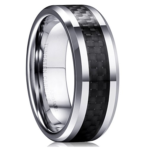 King Will Gentleman Men's Black Tungsten Carbide 8mm Carbon Fiber Inlay Comfort Fit Wedding Band Ring 8.5
