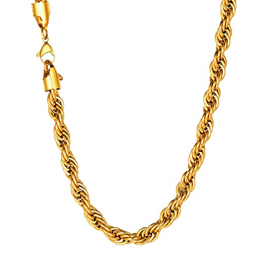 1585c15900ca1 U7 Jewelry Men 9mm Wide Rope Chain Necklace - 18K Gold Plated Cord Necklace