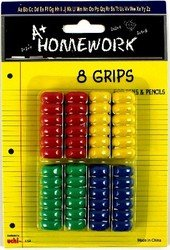 Ribbed Pencil / Pen Finger Grips - Asst Colors (Sold by 1 pack of 48 items)