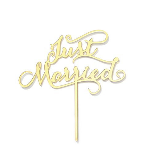 Firefairy Just Married Acrylic Cake Topper, Wedding Decoration Supplies (Gold) by Firefairy