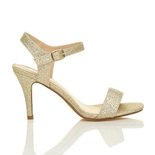 Chaussures Or Boucle élégant à Scintillante Pointure Femmes Paillettes lanières Talon Ajvani fête Sandales Haute qBwx4