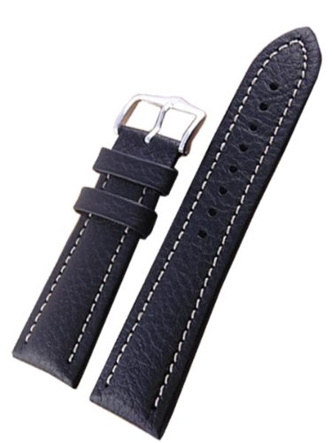Hirsch Buffalo Black High Grain Leather Watch Strap 113202-50-20