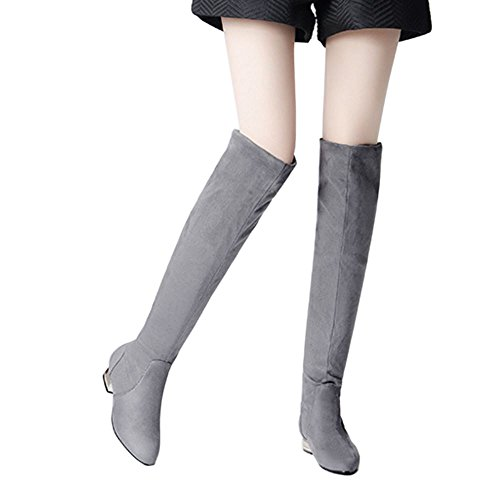 Winter Boots Pull High KemeKiss Knee On Women Casual Long Grey Autumn qw7xg1UP
