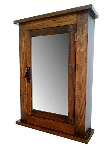 Primitive Mission Medicine Cabinet/Surface Mount/Distressed Medium Finish/Solid Wood & -
