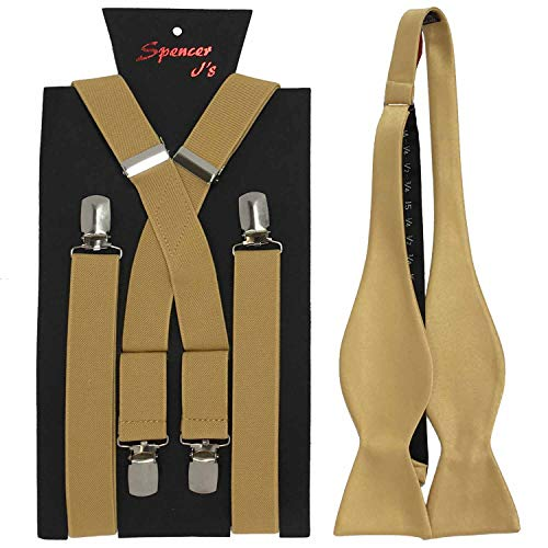 Spencer J's Self Tie Bowtie and Suspender set Variety of Colors (Gold) -