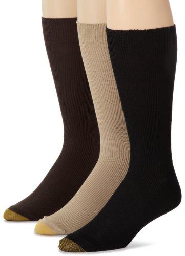 Gold Toe Men's 345S Metropolitan 3 Pack Cotton Lisle Dress Sock, Khaki/Brown/Black, Sock Size: 10-13/Shoe Size:9-11