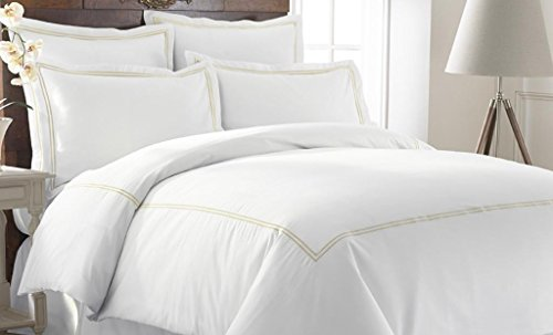 Pacific Coast Textiles 3-Piece 600 Thread Count Duvet Set with Double Marrowing, King, Warm Sand
