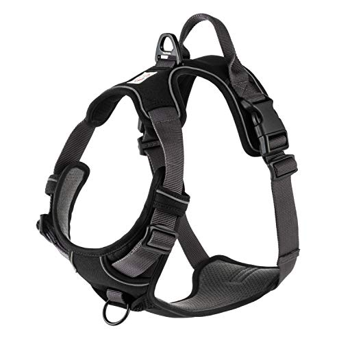 My Busy Dog Harness Vest | No Pull, Easy On/Off, Front/Back Metal Leash Attachments, Handle, Reflective, Secure Fit | Perfect for Small Medium Large Dogs | Size Chart in Pictures (XL, Black)