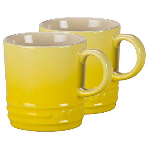 Le Creuset Soleil Yellow Stoneware Petite 3.5 Ounce Espresso Mug, Set of 2
