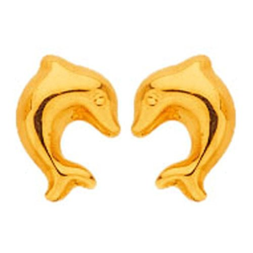 So Chic Jewels - 18k Yellow Gold - Dolphin Stud Earrings by So Chic Jewels