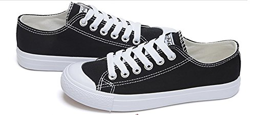 Aisun Womens Casual Antislip Ronde Neus Lage Tops Running Platform Lace Up Sneakers Canvas Flats Skate Schoenen Zwart