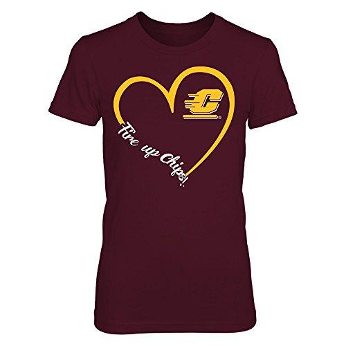 FanPrint Central Michigan Chippewas T-Shirt - Heart 3/4 - Premium Women