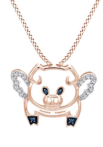 (AFFY Blue & White Cubic Zirconia Flying Pig Pendant Necklace in 925 Sterling Silver)