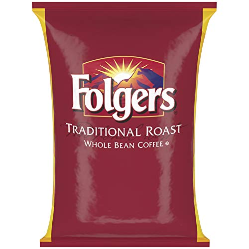 Folgers Traditional Roast Whole Bean Coffee, 80 Ounce Bag (5 -