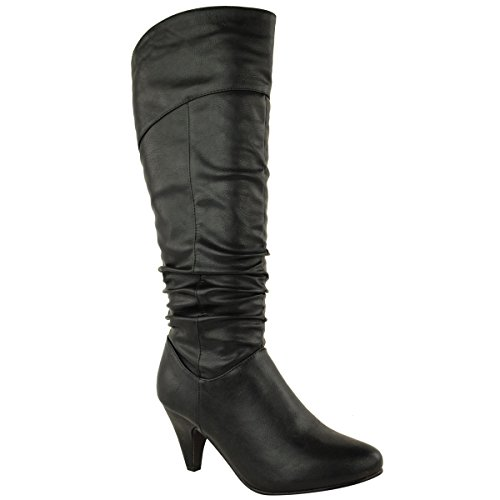 LADIES WOMENS LOW MID BLOCK CHUNKY HEEL KNEE HIGH CALF RIDING BOOTS SHOES SIZE Black Faux Leather