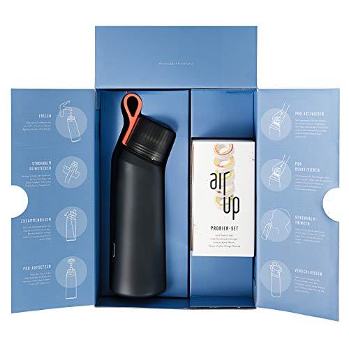 air up Starter-Set (1x BPA freie Trinkflasche 650 ml + 5x Duft-Pods für insgesamt 25 Liter Geschmack in den Geschmacksrichtungen Limette, Zitrone-Hopfen, Orange-Maracuja, Apfel und Pfirsich)