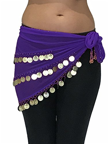 ADULT SIZE 8-18 BEAUTIFUL Triangle Jingly Shimmy Belly Dancing Coin Hip Belts Scarves (Purple Gold) (Turkish Hip Scarves)