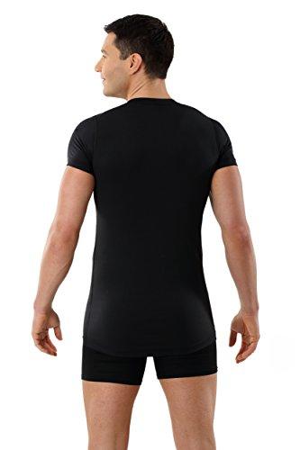 ALBERT KREUZ Funktionsunterhemd Business Herrenunterhemd unsichtbar aus Coolmax/Stretch-Baumwolle atmungsaktiv Sommer-Winter Klima-regulierend trockene Haut Kurzarm mit Rundausschnitt schwarz
