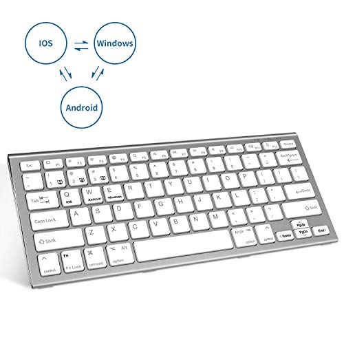 Bluetooth Keyboard,FENIFOX Rechargeable Three System Switching Small Wireless Compatible with Android/Windows/iOS iPad, iPad Pro, iPhone,MacOS Tablet Laptop-Silver White
