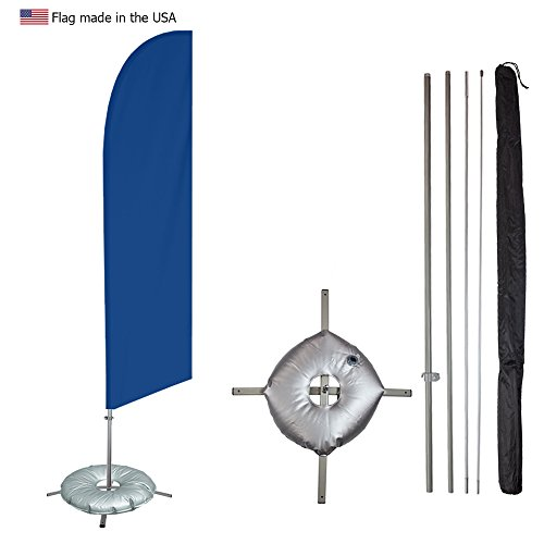 Vispronet - Medium Blue Solid Feather Flag Kit - 13.5ft Knitted Polyester Swooper Flag with Pole Set, Cross Flag Base and Weight Bag - Dyed in the USA Cross Pole Kit