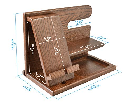Wood Phone Docking Station Ash Key Holder Wallet Stand Watch Organizer Men Gift Husband Wife Anniversary Dad Birthday Nightstand Purse Father Graduation Male Travel Idea Gadgets Solid