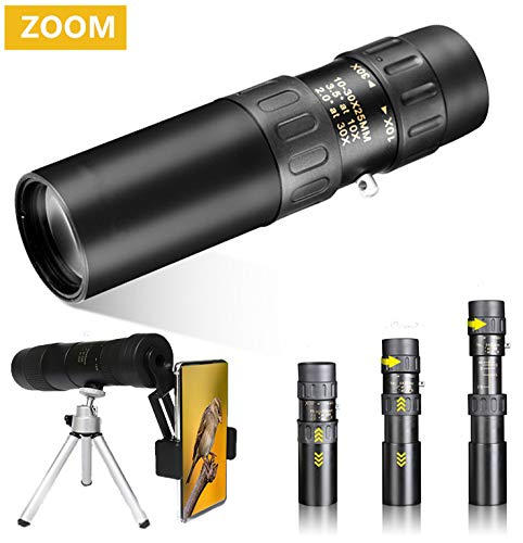 HD 10-30×25 High Power Dual Focus Zoom Monocular Telescope for Adults Bird Watching Travel Hunting Concerts Opera Sports, Waterproof Single Hand Focus Scope-BAK4 Prism FMC Lens-with Smartphone Adapter