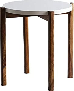 Unique Furniture Sheesham Wood Round Curve Shape Bed Side Table,Bedside Table for Bedroom Side Table (White & Brown)