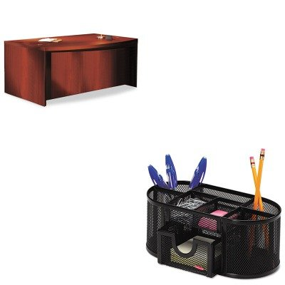 KITMLNABD7242LCRROL1746466 - Value Kit - Mayline Aberdeen Series Laminate Bow Front Desk Shell (MLNABD7242LCR) and Rolodex Mesh Pencil Cup Organizer (Aberdeen Series Bow)