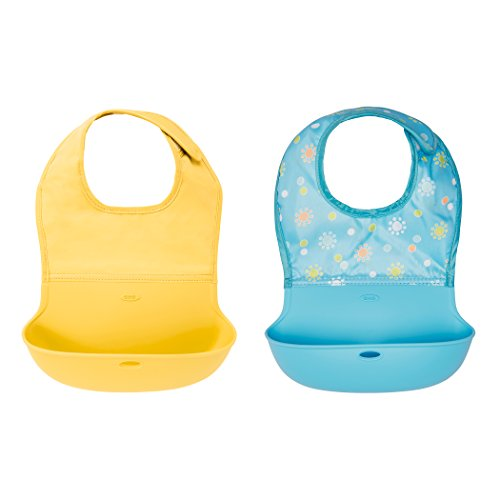 OXO Tot Waterproof Silicone Roll Up Bib with Comfort-Fit Fabric Neck, 2 Pack, Yellow/Aqua Pattern ()