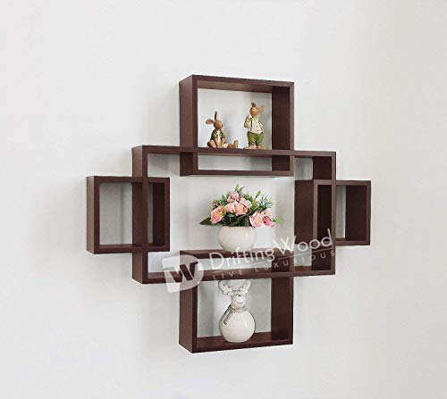 DriftingWood Wooden Intersecting Wall Shelves/Shelf for Living Room | Set of 5 | Brown