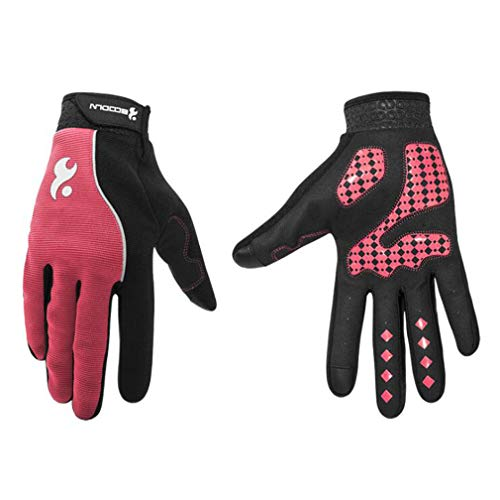 Touch Screen Gloves Outdoor Sports Riding Gloves Bicycle Sports Non-Slip Fitness Gloves,Rose,XL ()